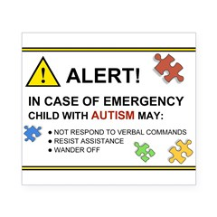 Autism Emergency Warning Sticker for Car Beer Label