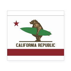 California Surfing Bear Flag Beer Label