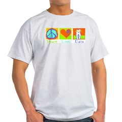 Peace Love Cats Light T-Shirt