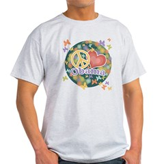 Peace Love Obama [globe] Light T-Shirt