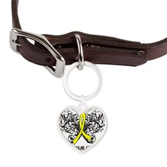 Butterfly Testicular Cancer Large Heart Pet Tag