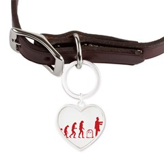 Evolution zombie Large Heart Pet Tag