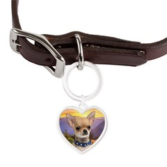 Chihuahua Meadow Large Heart Pet Tag