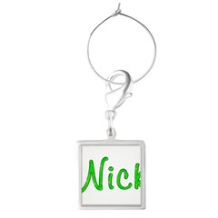 Nick Glitter Gel Large Square Wine Charm