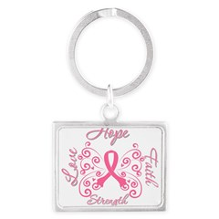 Breast Cancer Butterfly Hope Landscape Keychain