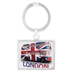 London Bus with Union Jack an Landscape Keychain