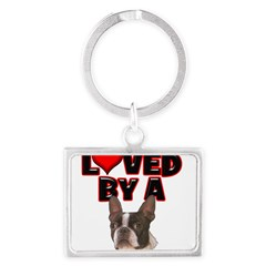 Loved by a Boston Terrier Landscape Keychain