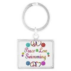 Peace Love Swimming Landscape Keychain
