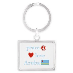 Peace, Love and Aruba Landscape Keychain