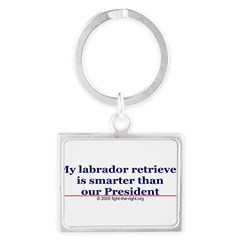 My labrador retriever is smarter (bumper sticker) Landscape Keychain