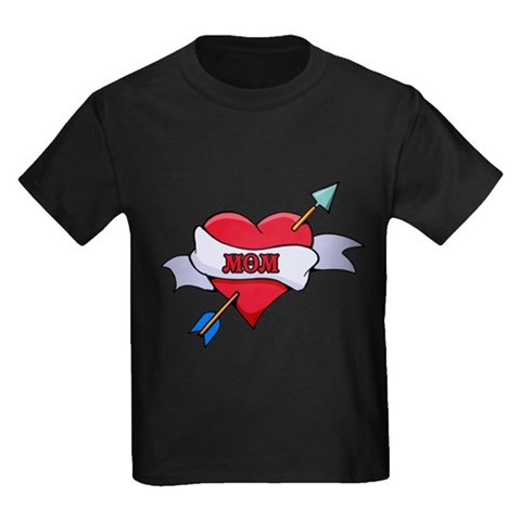 CafePress &gt; T-shirts &gt; I Love Mom Tattoo Heart T. I Love Mom Tattoo Heart T