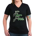 Future Frog Women's V-Neck Black T-Shirt