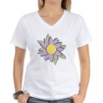 Purple Cartoon Flower Spring Women's V-Neck T-Shir