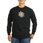 Purple Cartoon Flower Spring Long Sleeve Dark T-Sh