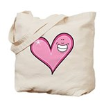 Pink Heart Cartoon Smile Smiley Tote Bag