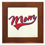 Baseball Style Swoosh Mom Framed Tile