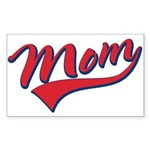 Baseball Style Swoosh Mom Rectangle Sticker