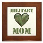 Military Mom Camouflage Camo Heart Framed Tile