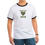 Military Mom Camouflage Camo Heart Ringer T