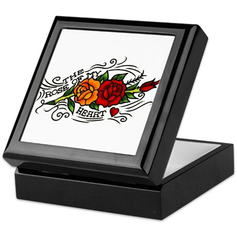 Rose of Heart Tattoo Keepsake Box