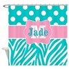 Teal Pink Dots Zebra Personalized Shower Curtain