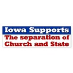 Iowa Separation of Church and State Bumper Sticker