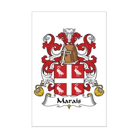 The Marais Family Crest. Be proud of your genealogy and family name! Get this detailed & authentic design on cool t-shirts, mugs, magnets, & more.