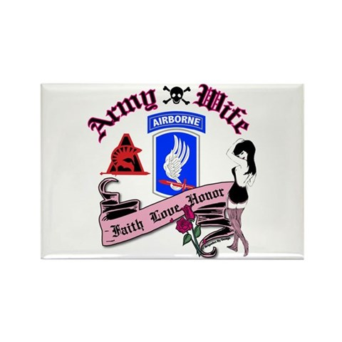 A goth/punk black and pink tattoo heart custom made for the Army Wife! 173rd Army Wife Pinup Tattoo Rectangle Magnet