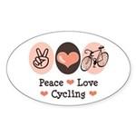 Bicycle Peace Love Cycling Oval Sticker
