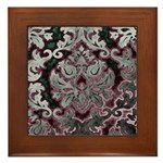 Silver Damask Framed Tile