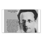 Erwin Schrodinger One Reality Sticker (Rectangular