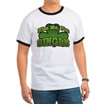 Kiss Me I'm Single Shamrock Ringer T