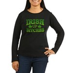 Distressed Drink Up Bitches Shamrock Women's Long