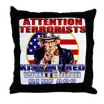"""Kiss My Ass"" Patriotic Uncle Sam Throw Pillow"