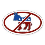 No Democrat White Bumper Oval Sticker