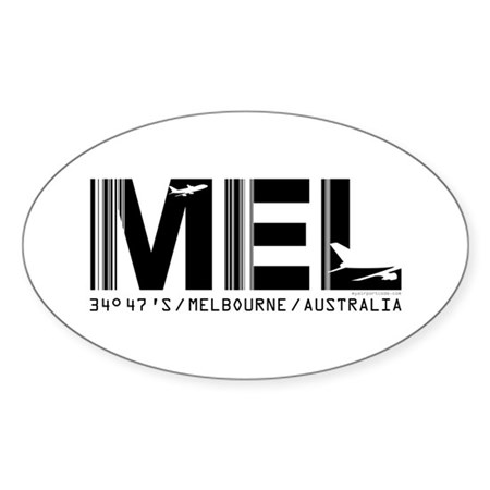 Melbourne AirportCode Australia MEL Oval Sticker