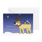 Reindeer Yellow Lab Christmas Cards (20 Pack)