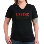Code Brown! Women's V-Neck Dark T-Shirt