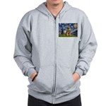 Starry Night / Border Terrier Zip Hoodie