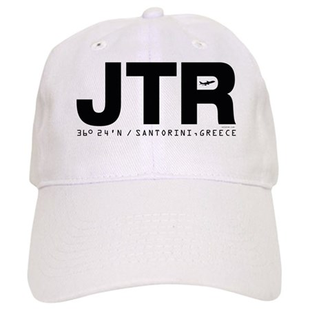 Santorini Airport Code Greece JTR Black Des. Cap