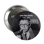 "Existentialist Jean-Paul Sartre 2.25"" Button (10 p"