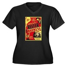 Vintage Reefer Madness Womens Plus Size V-Neck Da