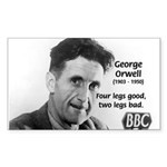 Modern Fable Writer Orwell Rectangle Sticker