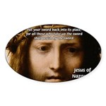 Jesus Peace and Love Oval Sticker