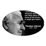 Inventor Thomas Edison Oval Sticker