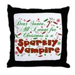 Dear Santa Sparkly Vampire Throw Pillow