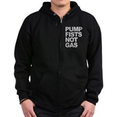 Pump Fists Not Gas Zip Dark Hoodie