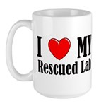 I Love My Rescued Lab Large Mug