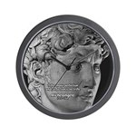 David with Michelangelo Quote Wall Clock