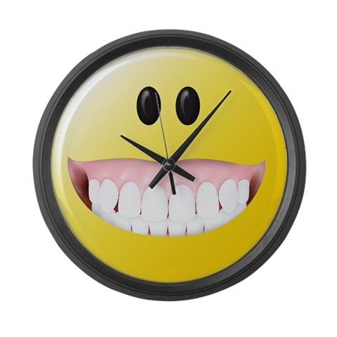 Big Gums Smiley Face large wall clock on CafePress.co.uk